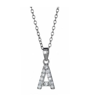 Silver CZ Initial Necklaces