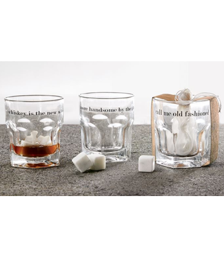 Mud Pie Whiskey Glass and Stone Set