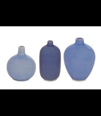 Mud Pie Blue Crackle Glaze Vases