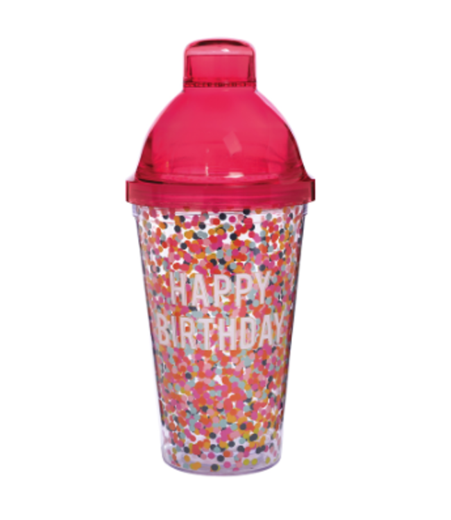 Shaker Happy Birthday w/ Pink Red 16oz