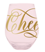 Stemless Wine Glass Cheers Pink 30oz