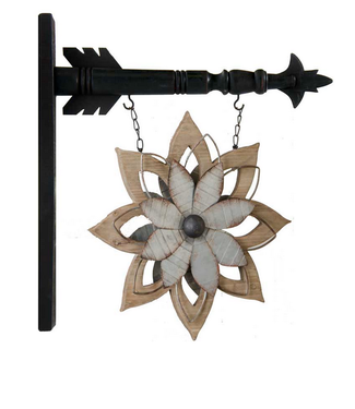 Metal & Brown Wood Flower Replacement 11.5 inch