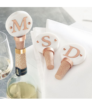Mud Pie Initial Marble & Copper Bottle Toppers