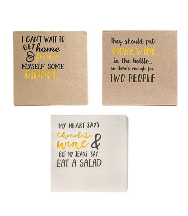 Mud Pie Gold Foil Wine Sentiment Napkins