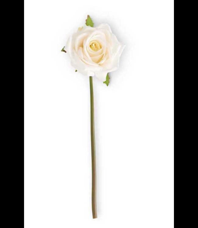 """14"""" White Real Touch Rose Stem Full Bloom"""