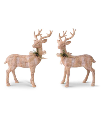 "19.5"" Resin Natural Wood Reindeer with Bow"