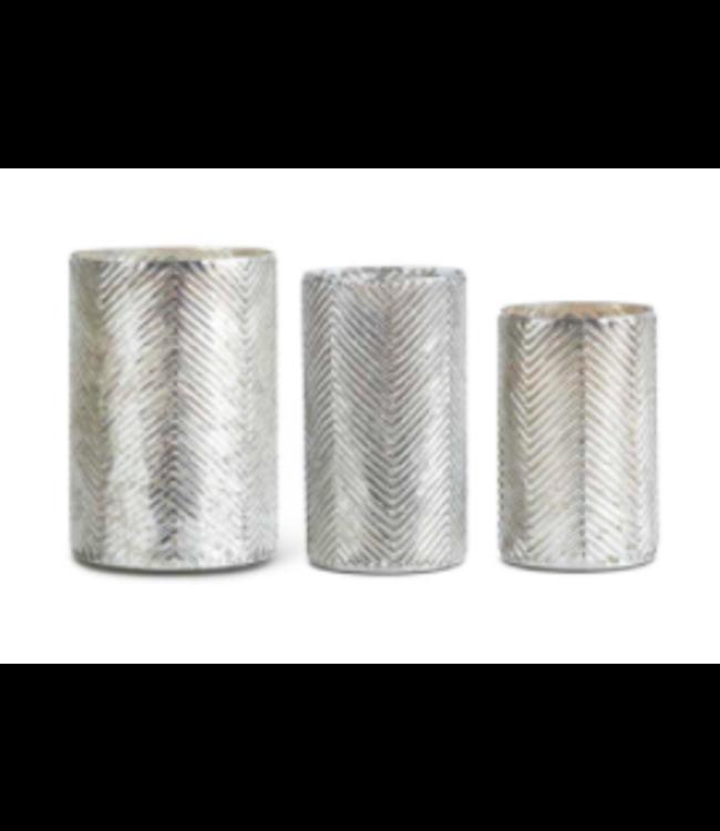Mercury Glass Vases with Herringbone Pattern