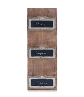 31.5 Inch Wooden Vertical Wall Unit with 3 Compartments and Chalkboard