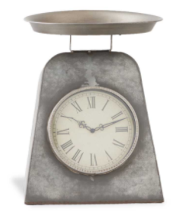 "15.5"" Gray Metal Antique Scale w/ Clock"