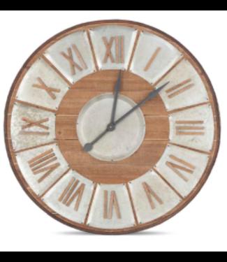 Large Wood and Tin Clock
