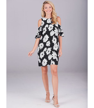Cora Cold Shoulder Dress Black Floral, Small