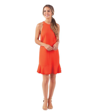 Mud Pie Lindsey Ruffle Dress Blood Orange, Large