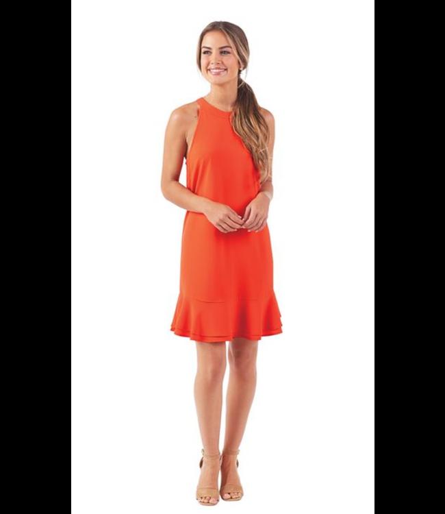 Mud Pie Lindsey Ruffle Dress Blood Orange, Large