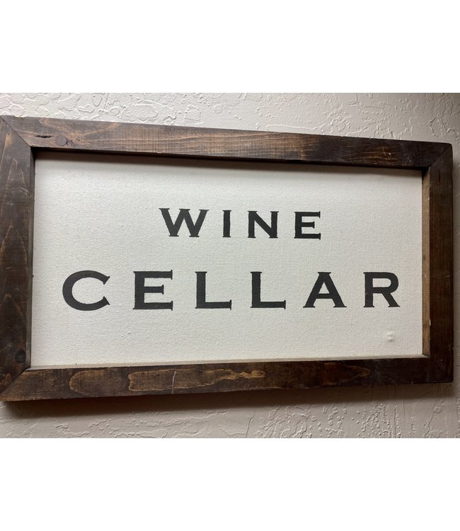 """Wine Cellar Wood and Canvas Sign 16.25""""x28.25"""""""