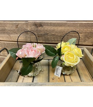 """7.25"""" Glass Bottle with Wire Hanger and Pink Roses"""