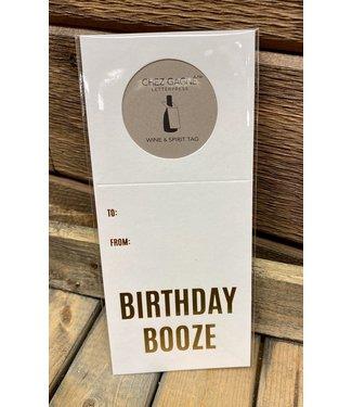 Birthday Booze Wine and Spirits Tag