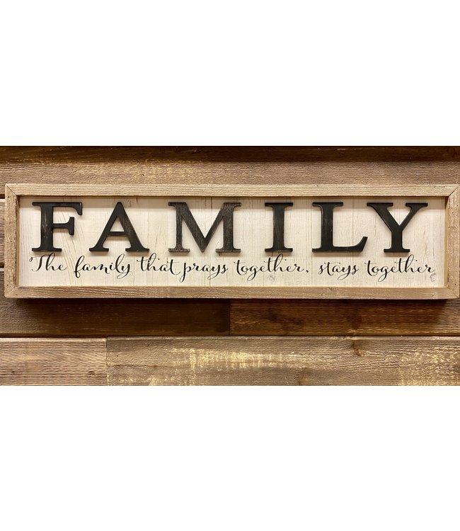 "31.5"" White Wood FAMILY Sign"