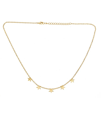 Brass 5 Stars Dangling Necklace Yellow