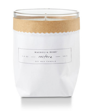 Magnolia Home MH Kraft-Textured Candle, Restore