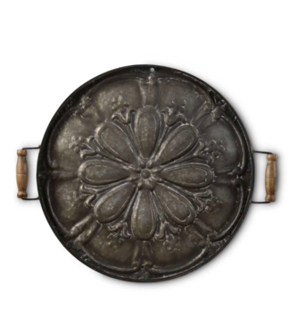 "25"" Round Metal Tray with Wood Handle Wall Art"
