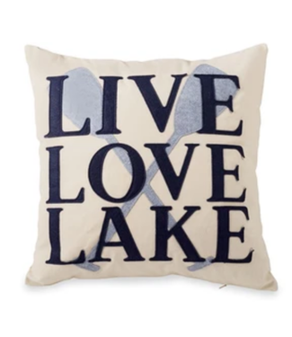 Mud Pie Live Love Lake Felt Pillow