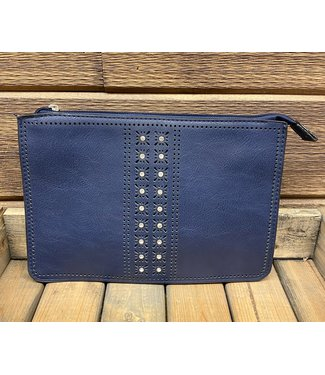 Horizontal Lasercut Crossbody with Crystal Accents and Back Pouch