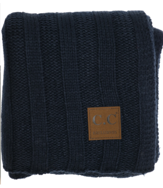 Wide Ribbed Scarf Navy