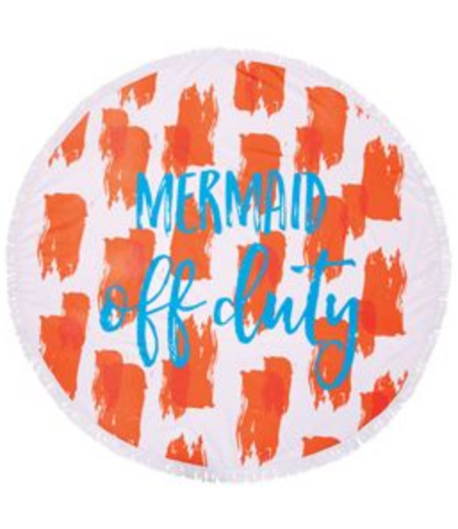 Mud Pie Life's a Beach Circle Towel Orange Mermaid Off Duty