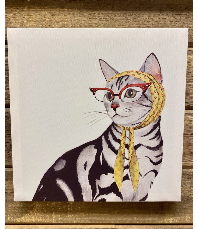 """Cat with Glasses 13.75"""" Canvas"""