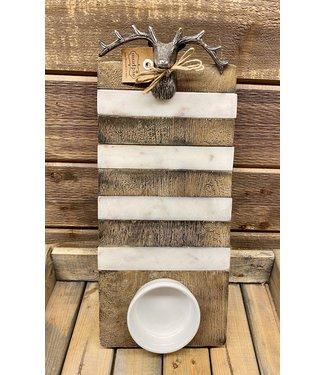 Mud Pie Deer Wood Marble Dip Board Set