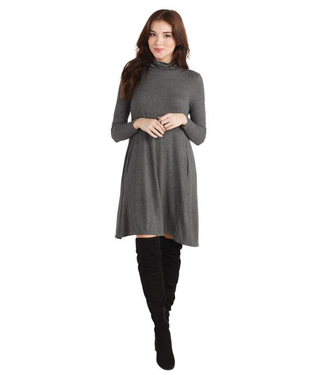 Mud Pie Topher Turtleneck Dress, Gray