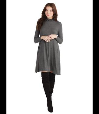 Topher Turtleneck Dress, Gray
