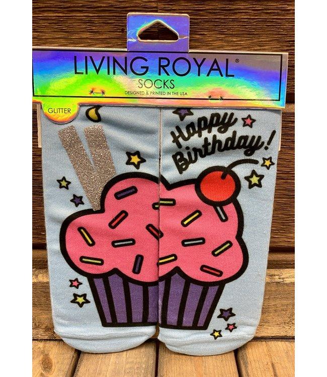 Birthday Cupcake Glitter Sock