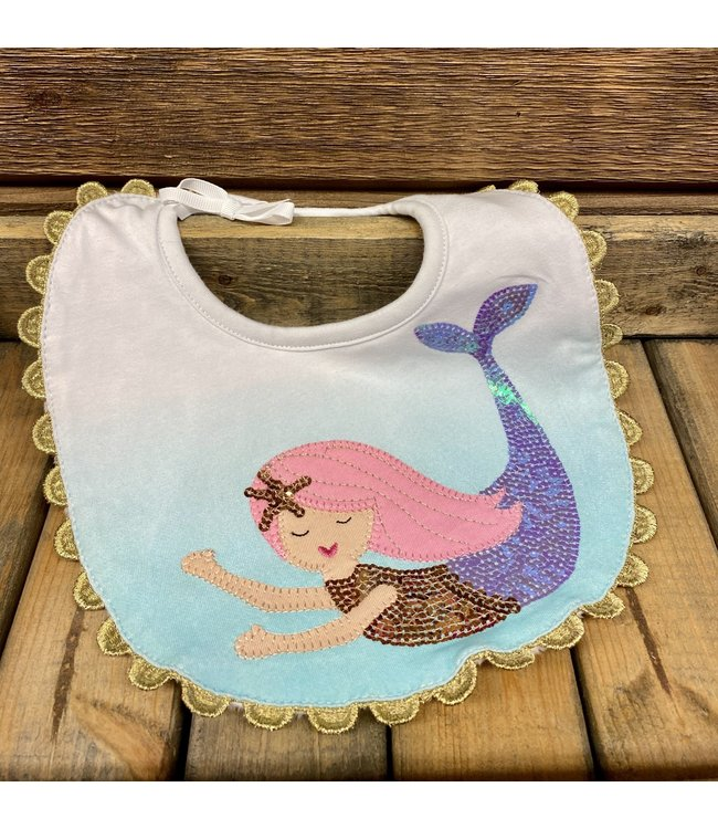 Mud Pie Mermaid Ombre Bib Blue