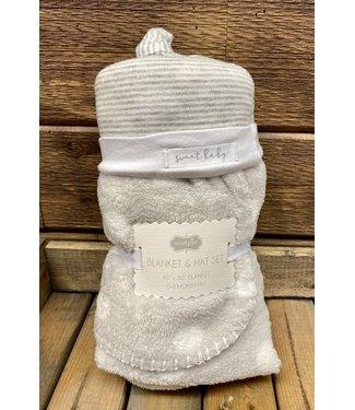 Mud Pie Gray Sweet Baby Hat Blanket Set