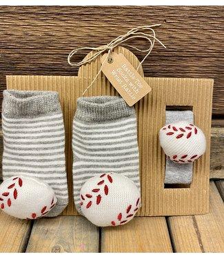Mud Pie Baseball Wrist Rattle and Socks Set