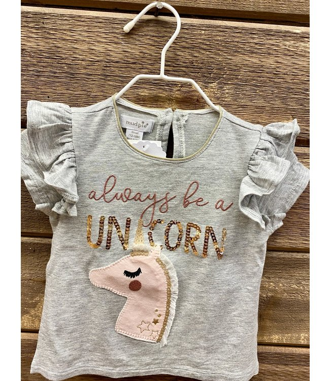 Mud Pie Always Be a Unicorn Sequin Tee Small 12-18 Mo