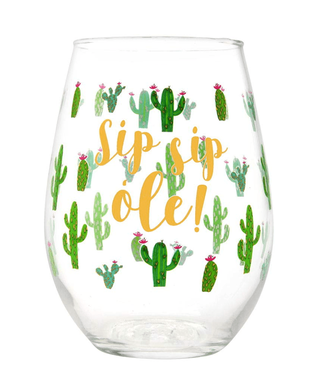 Stemless Wine Glass Sip Sip Ole 20oz