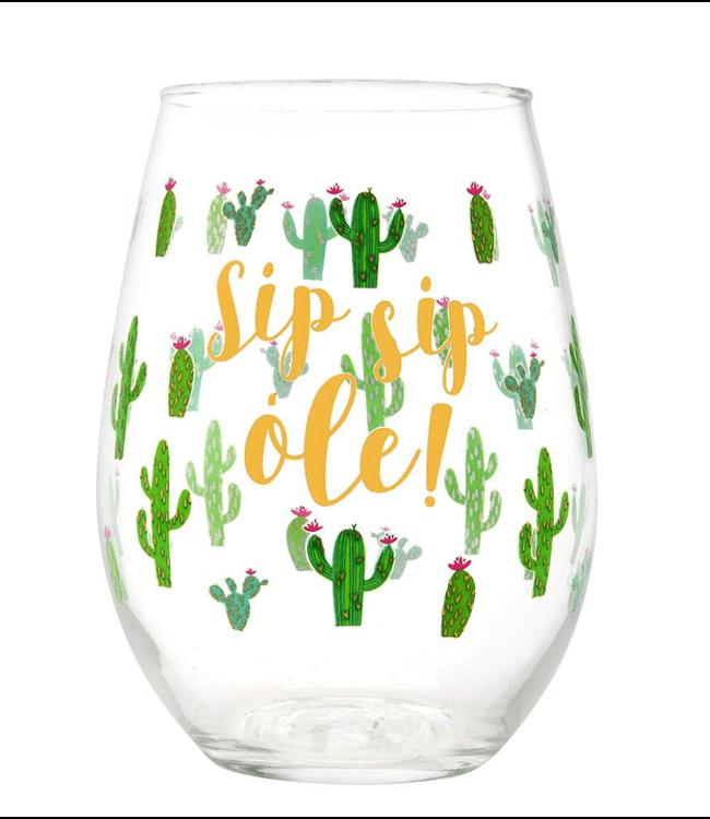 Stemless Wine Glass Sip Sip Ole 20oz