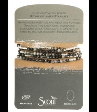 Wrap Bracelet Black Network Agate-Stone of Inner Stability