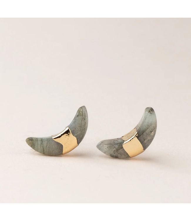 Crescent Moon Stud Labradorite-Gold Earring