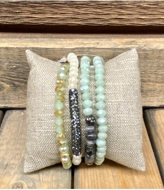 Four Strand Beaded Bracelet with Rhinestone and Stone Accents