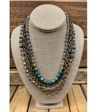 Crystal and Chain Necklace & Earring Set
