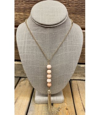 Light Peach Bead on Gold Tassel Necklace