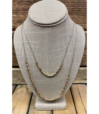 Tri Metal mini Nuggets Double Necklace With Silver Chain