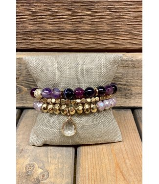 Triple Stack Bracelets with Teardrop Crystal