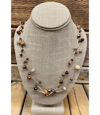 Triple Thread Beaded Necklace
