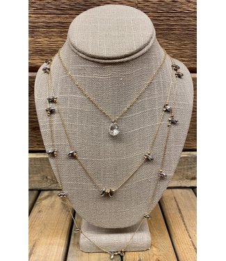 Triple Layer Gold Neclace with Pewter Beads and Crystal Solitare