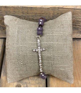 Crystal Stretch Bracelet w/ Cross