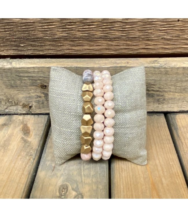 Triple Stack Rhodonite Bracelet with Gold Beads